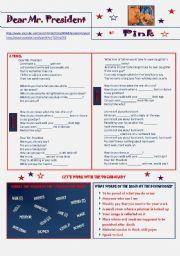 English Worksheet: Dear Mr. President by P!NK