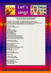 English Worksheet: GLEE SERIES � SONGS FOR CLASS! S01E17 � FIVE SONGS � FULLY EDITABLE WITH KEY!