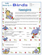 English Worksheet: Daily Warm – Ups 3 (3/10)  Key included