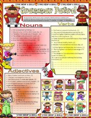 English Worksheet: GRAMMAR PATROL * NOUNS * VERBS * ADJECTIVES  - **EDITABLE**