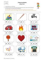 English Worksheets: I Know My Phonics: Ending Sounds 1/12
