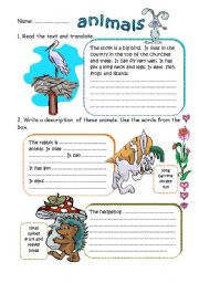 English Worksheets: WRITING ABOUT ANIMALS