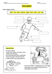 English Worksheets: the body 2