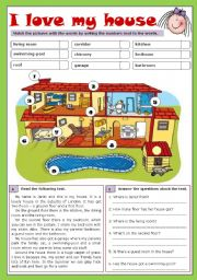 English Worksheet: I love my house (reuploaded)