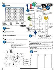 English Worksheet: Around The World Series_04 France (Fully Editable + Key)