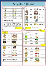 English Worksheets: Singular and Plurals