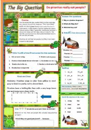 English Worksheets:  Do piranhas really eat people?   A science question   8
