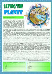 English Worksheet: Saving the planet