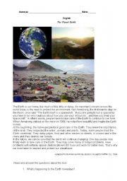 English Worksheet: The Planet Earth.