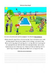 English Worksheet: Present Continuous Tense (What are they doing?)
