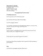 English worksheets: five paragraph essay peer review sheet