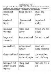 English Worksheet: Adjectives game