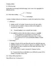 English Worksheets: Grouping Students