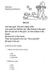 English Worksheets: Ann�s Pet