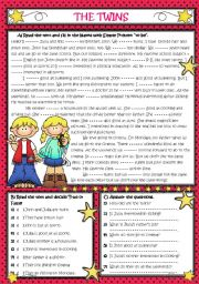 English Worksheet: AM-IS-ARE *** THE TWINS *** (Reading-Grammar)