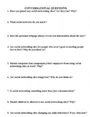 English Worksheet: Conversational Questions on the Topic