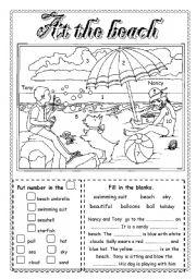 English teaching worksheets: The beach