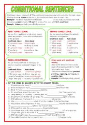 English Worksheet: CONDITIONAL SENTENCES. EXPLANATION AND EXERCISES. (KEY INCLUDED)