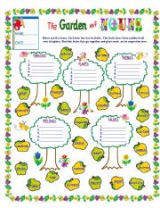 English Worksheet: THE GARDEN OF NOUNS