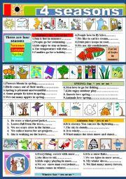 English Worksheet: 4 Seasons