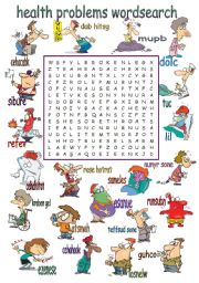 English Worksheet: Health Problems Wordsearch