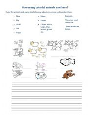 English Worksheets: How many nice animals