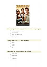 English Worksheets: The hangover Movie