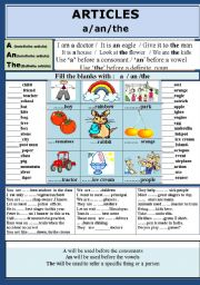 English Worksheets: ARTICLES:  a / an / the