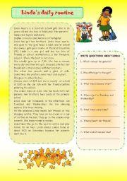 English Worksheet: Linda�s daily routine