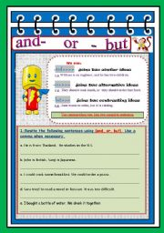 English Worksheets: using and / but / or