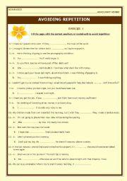 English Worksheet: Avoiding Repetition