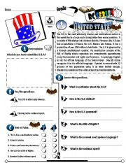 English Worksheet: RC Series_Level 01_Country Edition 02 U.S (Fully Editable)
