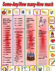 English Worksheet: SOME-ANY/HOW MANY-HOW MUCH