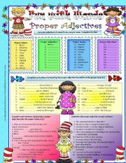 English Worksheets: Fun with words- proper adjectives