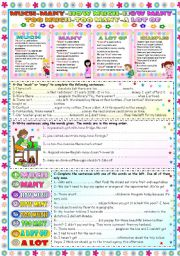 English Worksheet: MUCH-MANY-HOW MUCH-HOW MANY-TOO MUCH-TOO MANY-A LOT OF (KEY INCLUDED)
