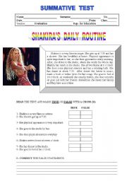 English Worksheet: Shakira�s daily routine - Test or worksheet