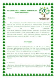 English Worksheets: International Year of the Forests