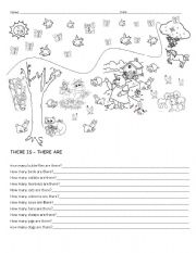 English Worksheets: Animals, there is -are