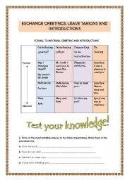 English Worksheets: Greetings and introductions