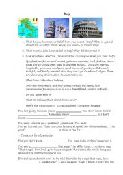 English Worksheet: Eat pray love Part 2 Italy