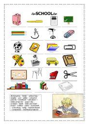 English worksheet: school