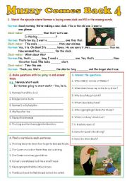 English Worksheet: Muzzy Comes Back 4 - 4 exercises - editable