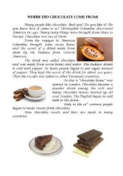 English Worksheets: Where did chocolate come from?