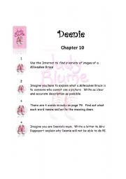 English Worksheets: Deenie Chapter 10 By Judy Blume