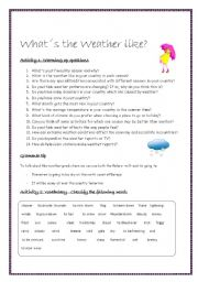 WHAT´S THE WEATHER LIKE? - Lesson Plan - ESL worksheet by lotas