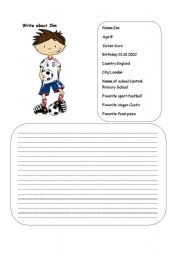 English Worksheets: Writing about Jim