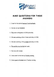 English Worksheets: Make questions for these answers 1