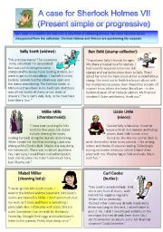 English Worksheets: Sherlock Holmes case VII: Present simple or present progressive
