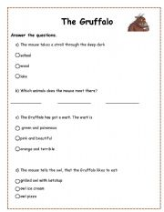 English Worksheet: Gruffalo Worksheet