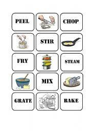 English Worksheet: Cooking Verbs Memory Game (Part 2)